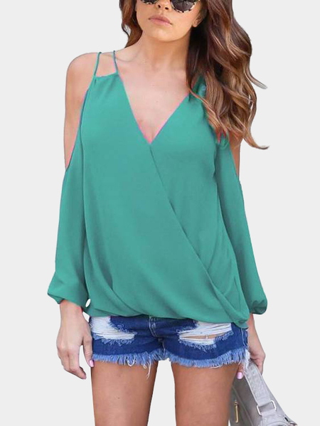 Green V-neck Cold Shoulder Top