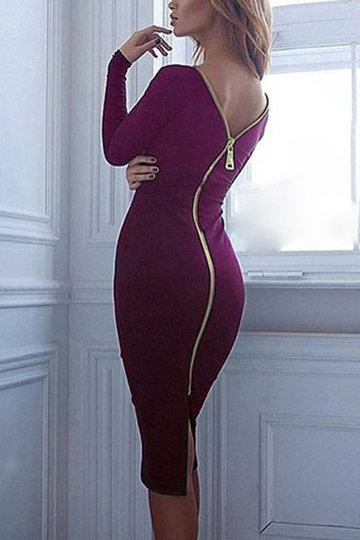 Borgonha Long Sleeves Split Back Zip Body-con Midi Vestido