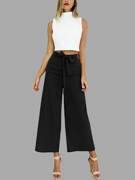 Black Self-tie Embellished Waist Wide leg Pants