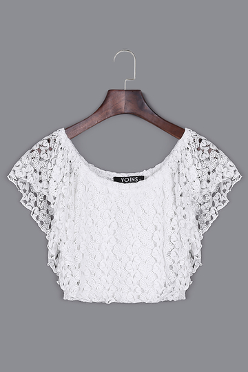 White Off Shoulder Lace Crop Top