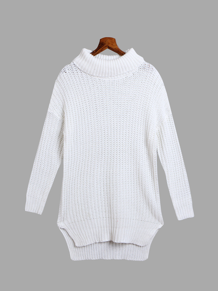 High Neck Plain Color Split Design Long Knitwear