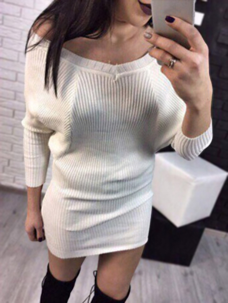 White Sexy Lowcut V-neck Sweater Dress