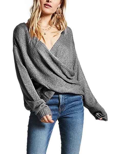 Grey Crossed Front Design V neck Jumper