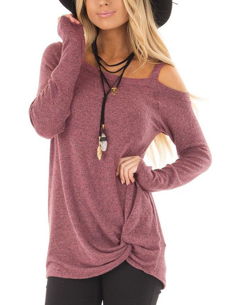 Dusty Mauve Crossed Front Design Plain One Shoulder Long Sleeves T-shirts