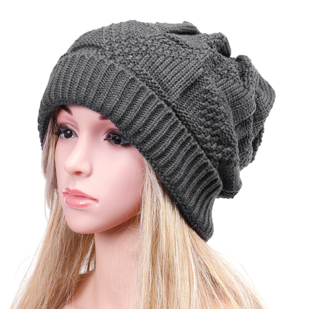 Dark Grey Crochet Knit Ribbed Hat