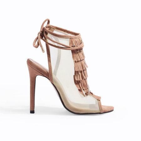 Apricot Tassels Peep Toe Stiletto Sandals