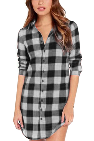 Grey Casual Grid Pattern Curved Hem Long Shirt