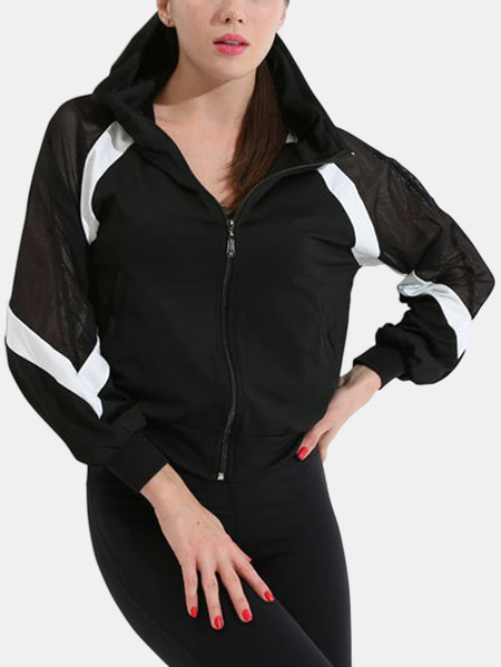 Active Contrast Color Zip Design Mesh Jacket in Black