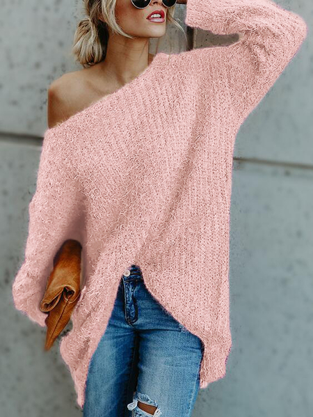 Pink One Shoulder Long Sleeves Loose Sweaters