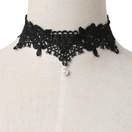 Black Hollow Lace Design Pearl Pendant Choker Necklace
