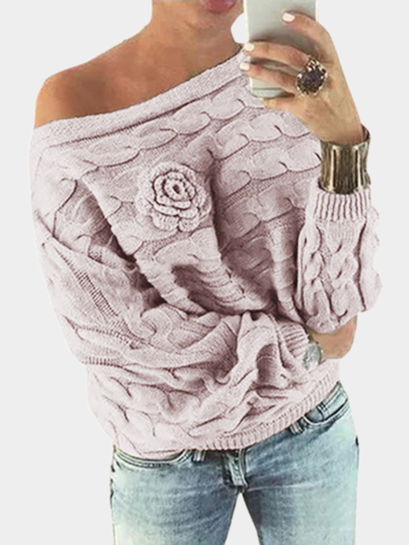 Light Pink Off Shoulder Bat-wing Sleeves Random Floral Sweater
