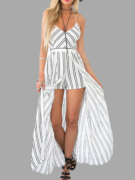 Stripe V Neck Criss Cross Back Cami Playsuit with Maxi Overlay
