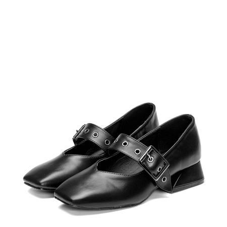 Black Square Toe Flats with Buckle Design
