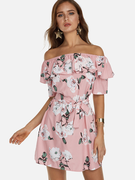 Pink Random Floral Print Off The Shoulder Short Sleeves Dress
