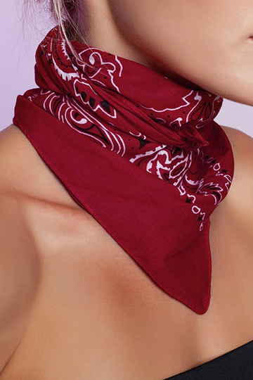 Tribe Pattern Lightweight Scarf in Red