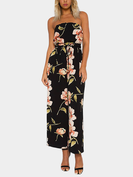 Black Sexy Off Shoulder Random Floral Print Jumpsuit