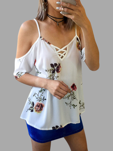 White Adjustable Shoulder Straps Floral Print V-neck Sleeveless Blouses