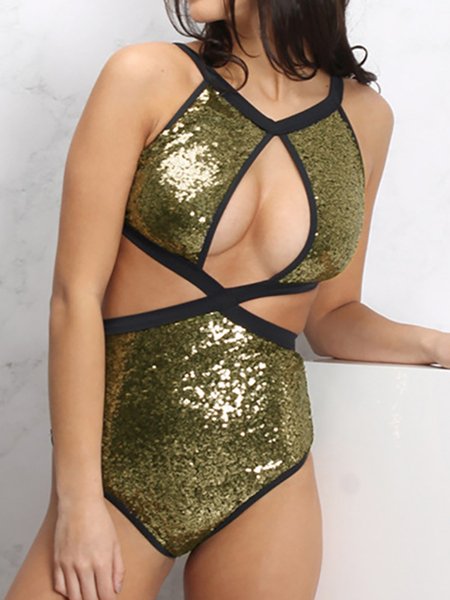 Gold Self-tie Sequins Embellished Swimwear
