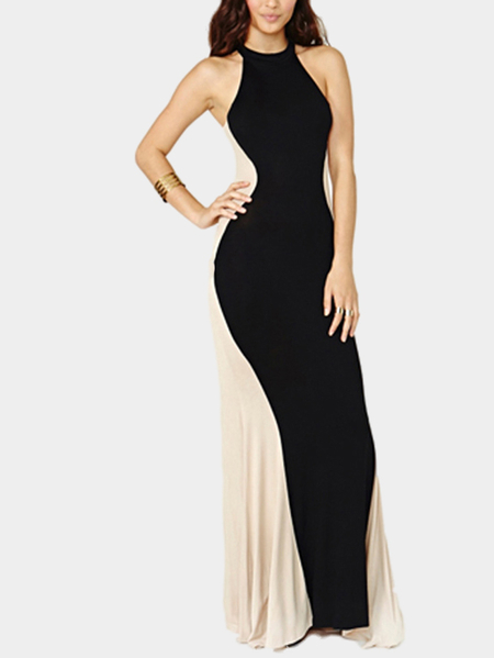 White And Black Contrast Sleeveless Maxi Dress
