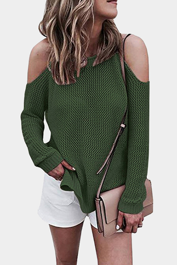 Green Cold shoulder Long Sleeves Knitwear with Side Splited