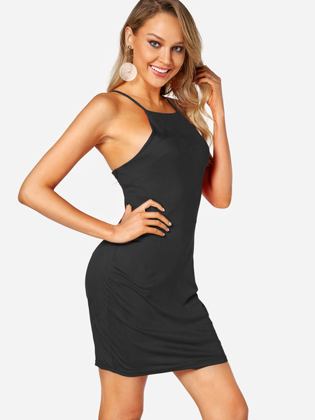 Black Backless Design Crew Neck Sleeveless High-waisted Dresses