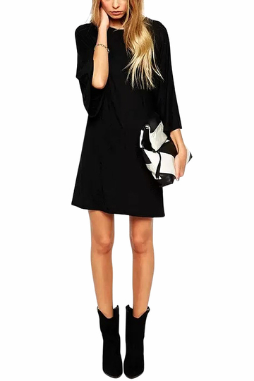 Black T-Shirt Dress with Loose Sleeves