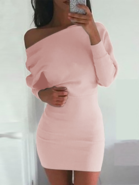One Shoulder Bat Long Sleeves Mini Dress in Pink