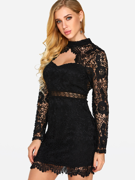 Black Backless Design Lace Halter Long Sleeves Dress