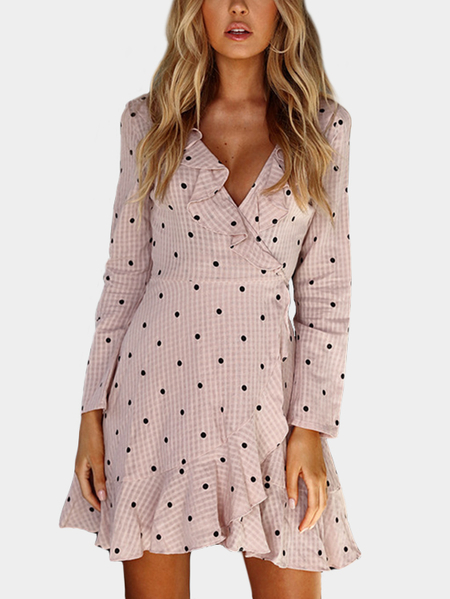Pink Wave Point Pattern Deep V-neck Flounced Slit hem Dress