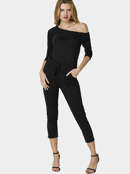 Black Casual Off-shoulder Jumpsuit With Pockets