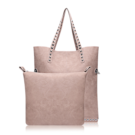 Leather Studded Shopper Bag with Removable Compartment