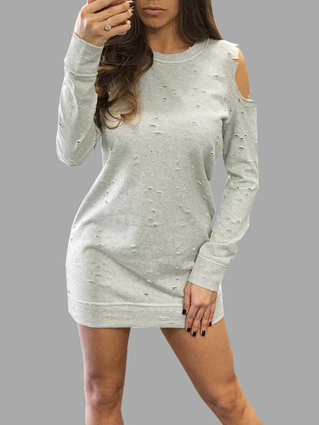Casual Grey Cold Shoulder Ripped Details Dress With Long Sleeves