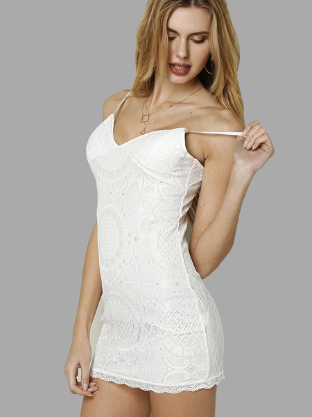 White Crochet Lace Body-con Dress With Cami strap