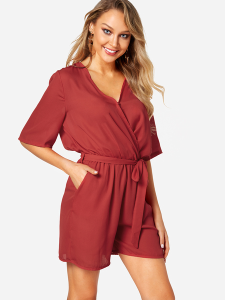 Red Crossed Front Design V-neck 3/4 Length Flared Sleeves High-waisted Playsuit