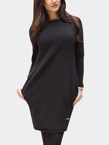 Black Round Neck Loose Nonelastic Mini Dress