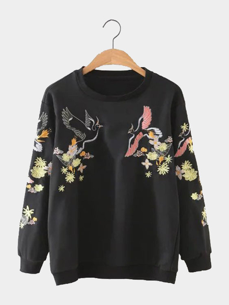 Black Embriodery Pattern Long Sleeves Sweatshirt