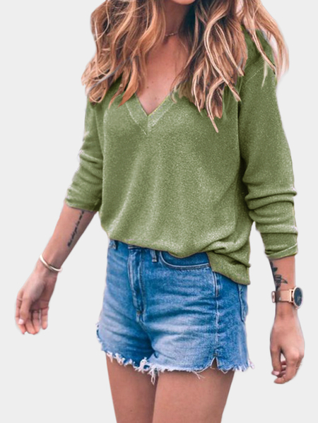 Green V-neck Long Sleeves Sweater Jumper