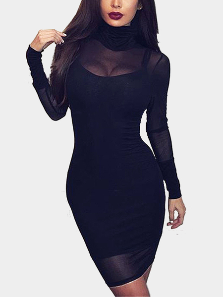Black Sexy See-through High Neck Body-con Mini Dress