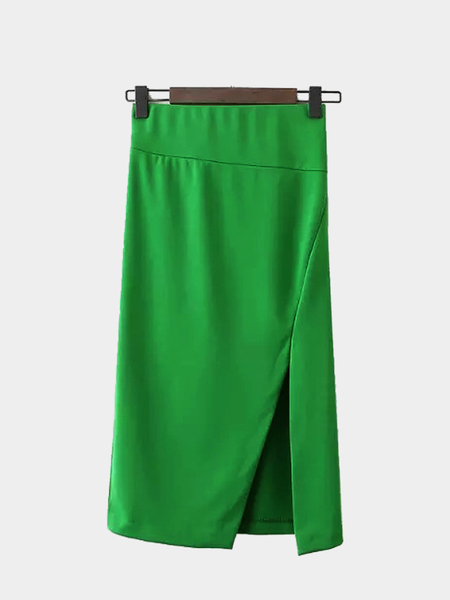 Pencil Skirt with Side Split in Green