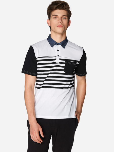White Sleeve Connected One Pocket Men's Polo Shirt