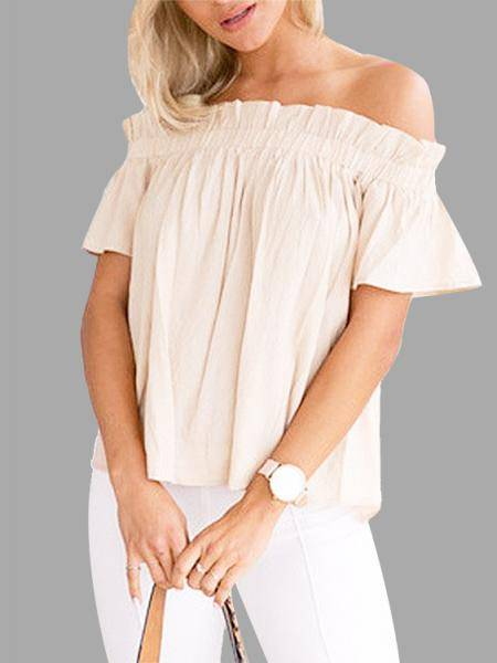 Off-The-Shoulder Frill Design Top in Apricot