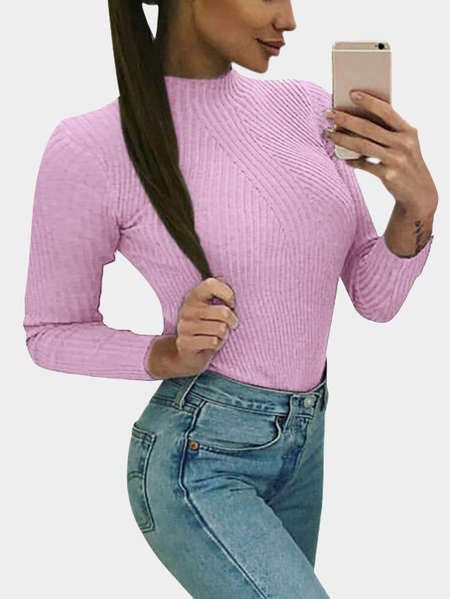Pink Perkins Collar Long Sleeves Bodycon Jumper