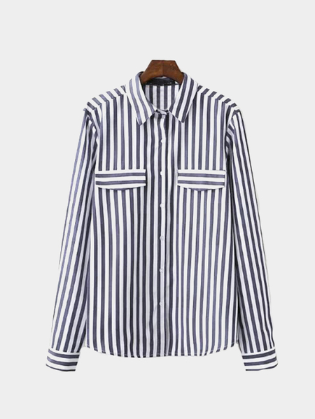 Dark Blue Classic Stripe Pattern Button Pocket Front Shirt