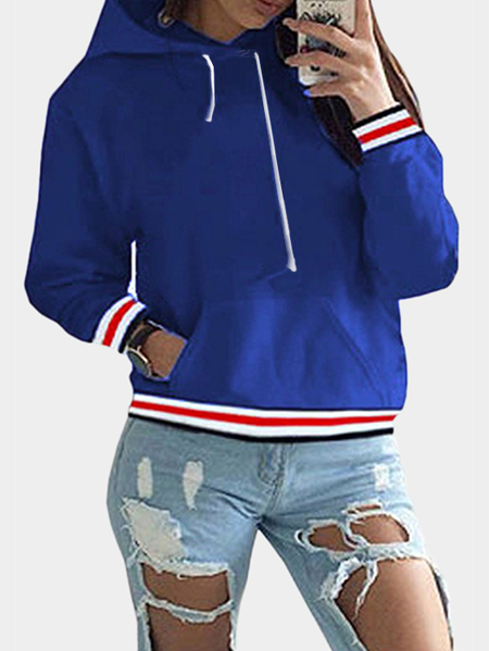 Blue Front Patch Pocket Long Sleeves Hooded Sweatshirts