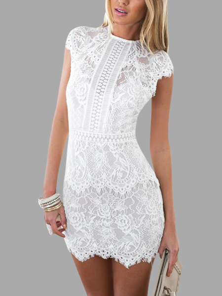 White Lace Details Bateau High-waisted Ladies Dress