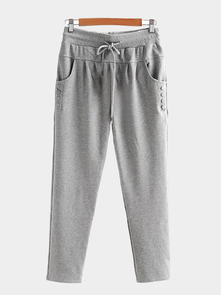 Casual Light-grey Stretchable Drawstring Waist Jogger