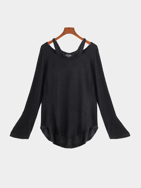 Black V-neck Irregular Hem Causal T-shirt