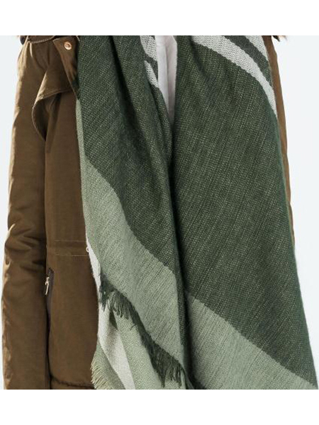 Fashion Green Stripe Printing Shawl Scarf con