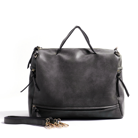 Dark Grey Nubuck Leather Handbag