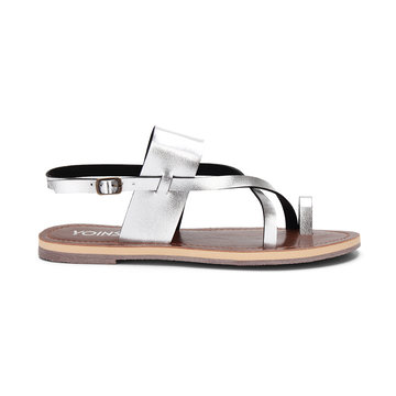 Silver Leather Look Crossing Strap Front Flat Sandals